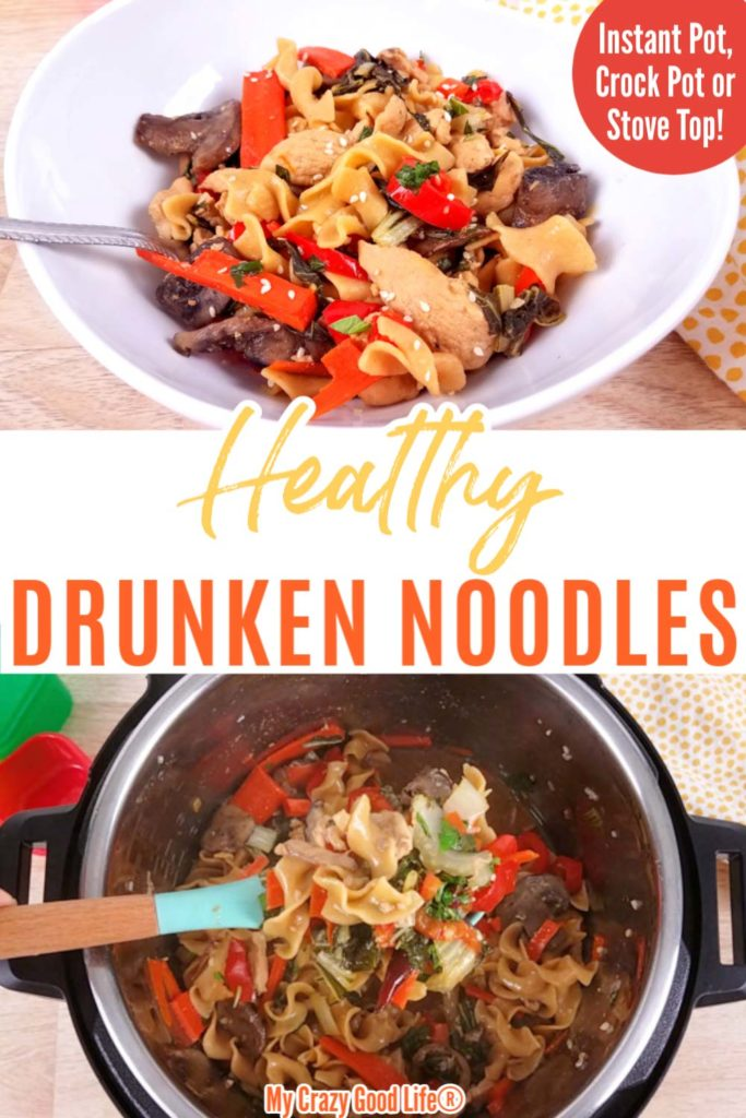 Drunken noodles image with text for Pinterest