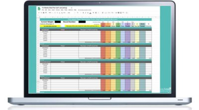 meal plan spreadsheet on a laptop