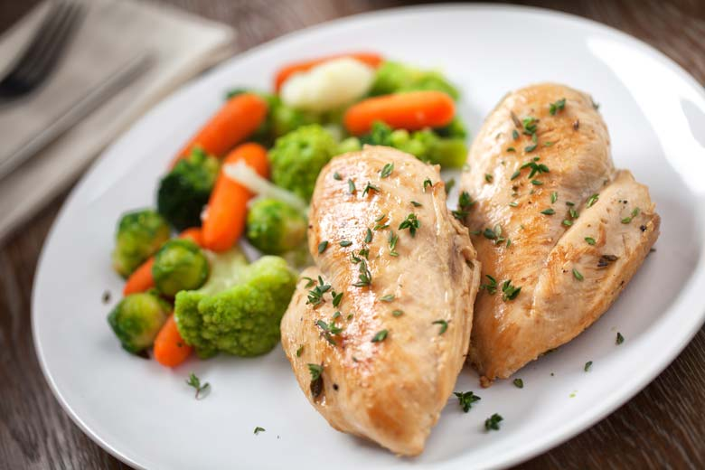 grilled chicken and veggies on a white plate