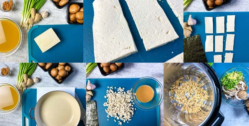 Collage of cooking steps for miso soup