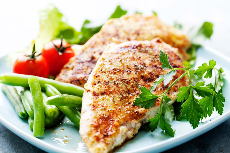grilled chicken and vegetables on a white plate