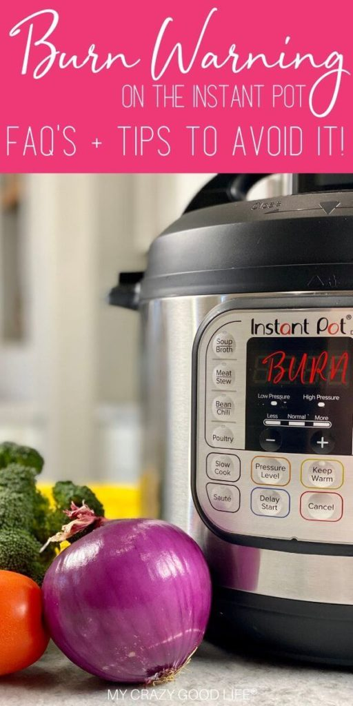 image of the Instant Pot below and tips text for burn warning.