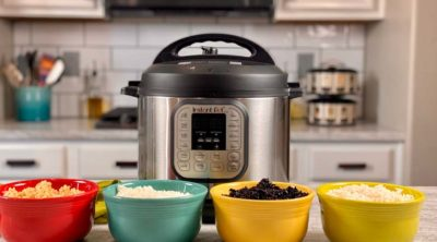 image of Instant Pot on counter with four bowls of rice in front