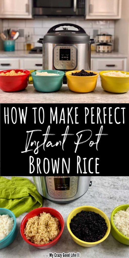collage images of how to make rice in the instant pot with text for pinterest