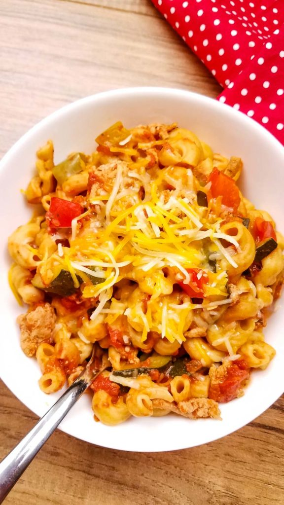 close up of goulash with shredded cheese