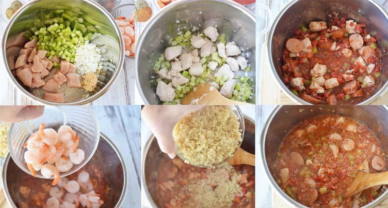 collage image of how to make instant pot jambalaya