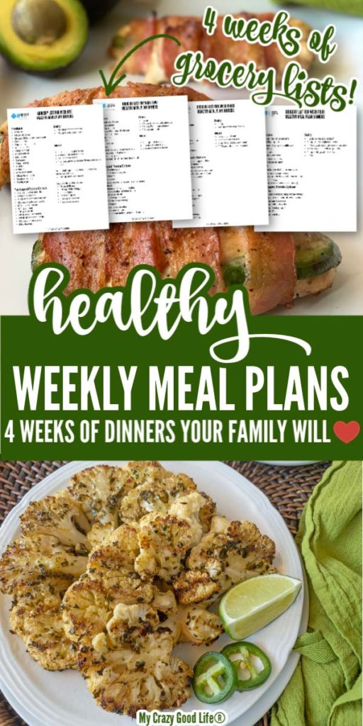 images of cauliflower, bacon wrapped chicken, grocery lists with text for pinterest