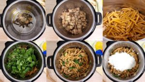 In process collage of how to make Tuscan Chicken in the instant pot