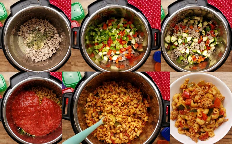 collage image of how to make this goulash in the instant pot
