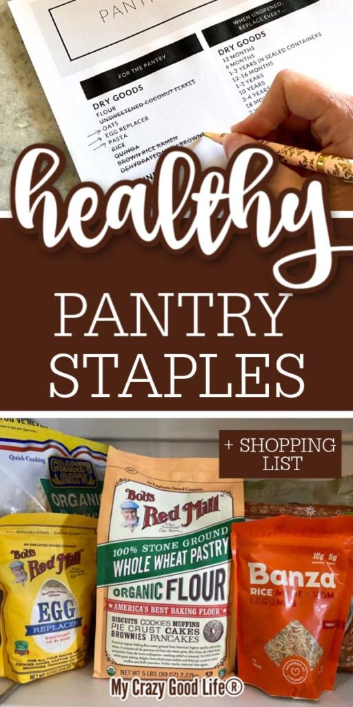 collage of pantry staples with text for pinterest