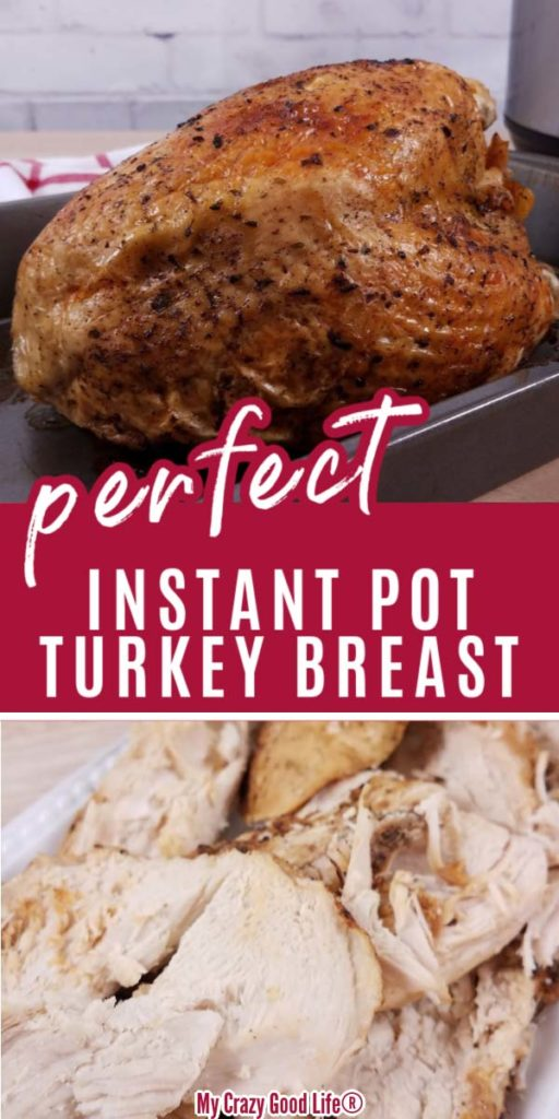 collage image of cooked and sliced turkey breast for pinterest