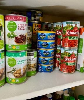 cans in a pantry