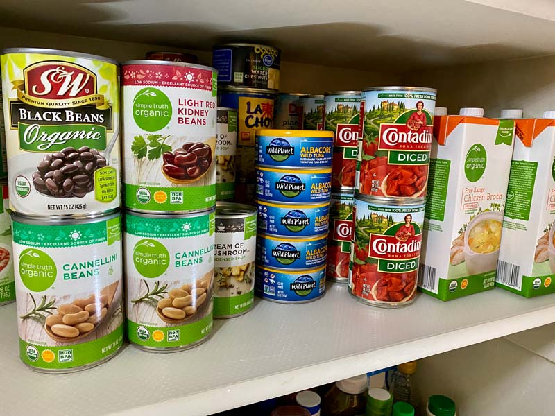 canned pantry items - beans, tuna, broth
