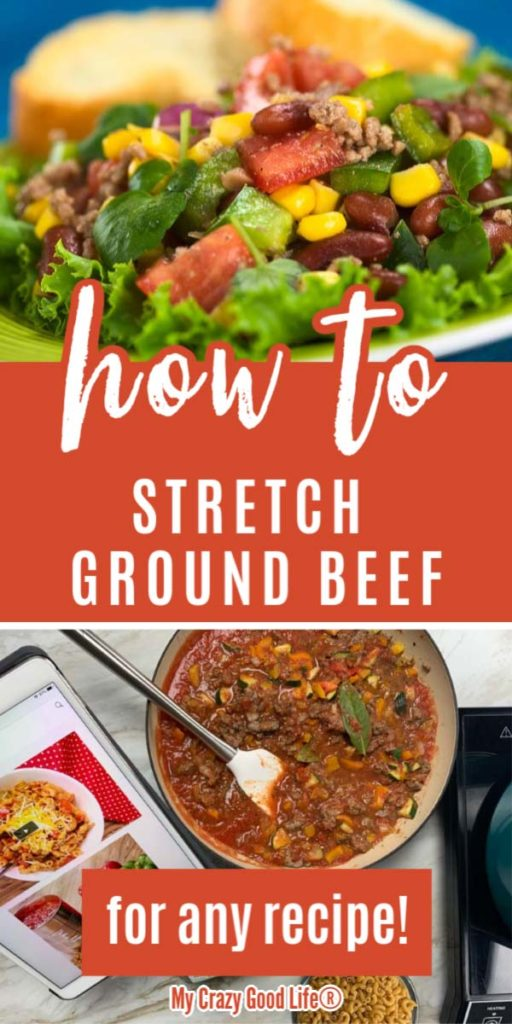 collage of how to stretch ground beef with text for pinterest