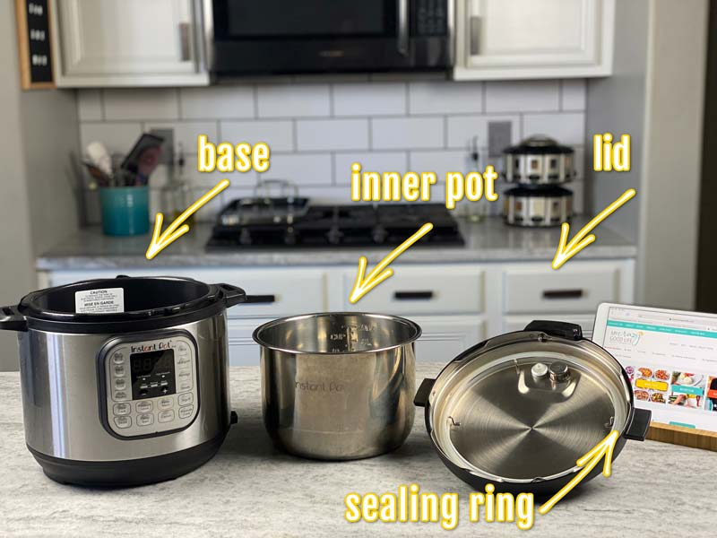 labeled image of instant pot parts