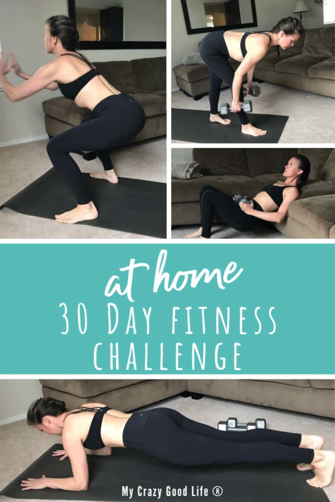 collage image of 30 day at home fitness challenge with text for pinterest