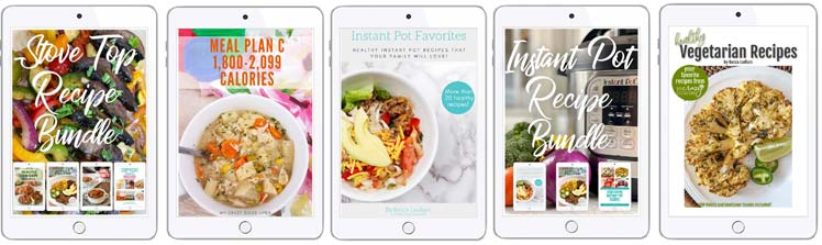 5 book covers on iPad style screens for stove tope recipes, meal plan C, Instant Pot recipes, and vegetarian recipes