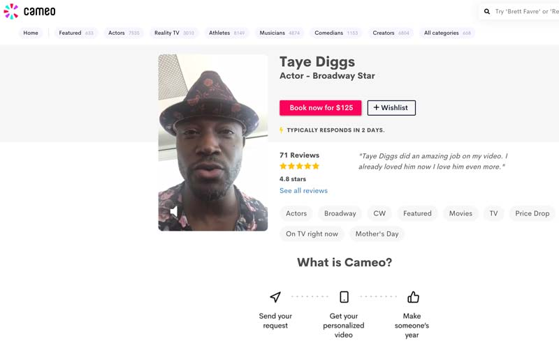 homescreen of Taye Diggs on Cameo as a way to celebrate college graduation