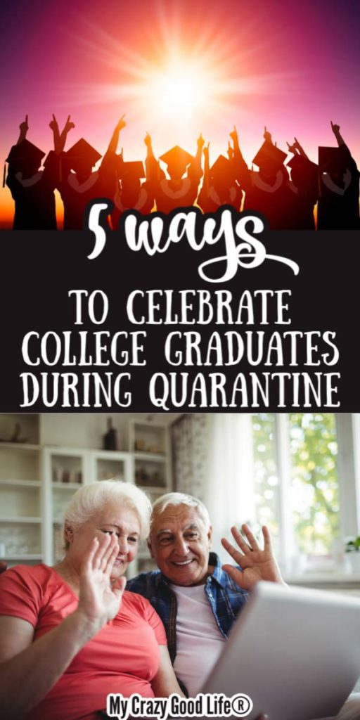 image with text for pinterest, showing grandparents waving at computer and graduates
