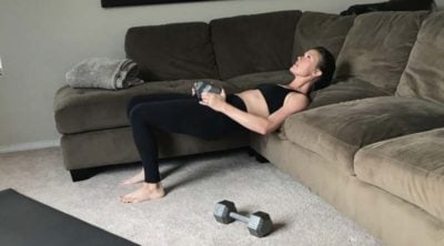hip thrust exercise on couch up position