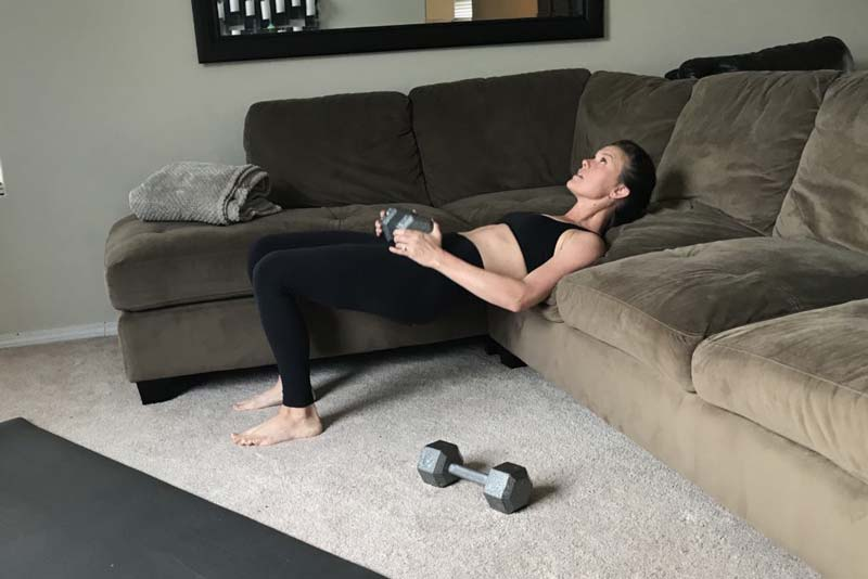 hip thrust exercise on couch
