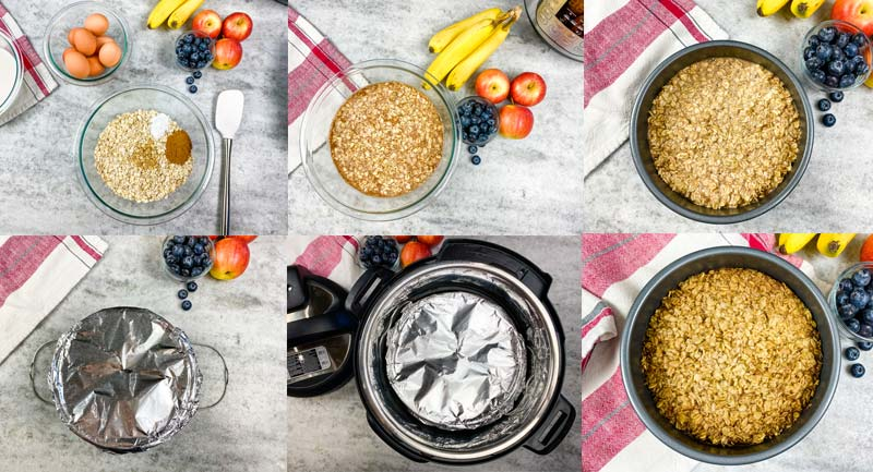 collage showing how to make amish baked oatmeal in the Instant Pot