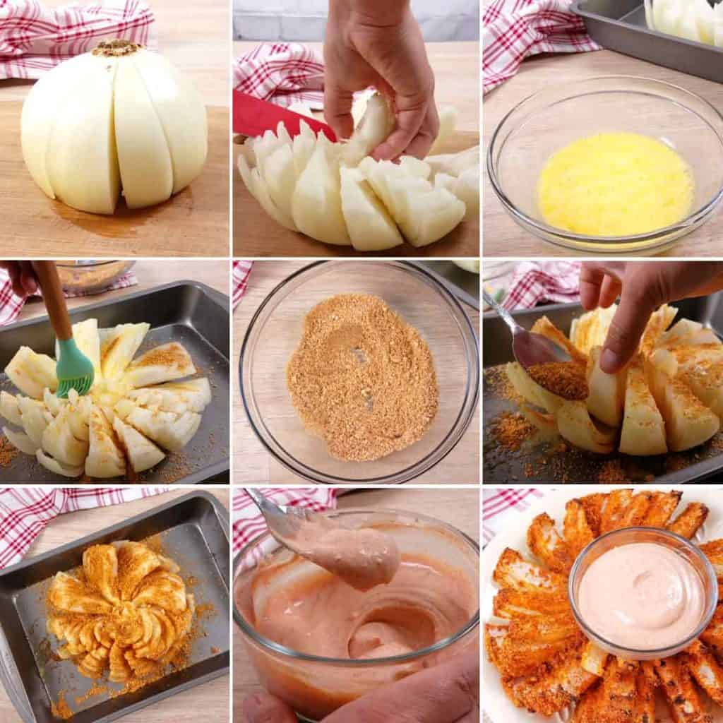 Baked Blooming Onion Collage of how to steps