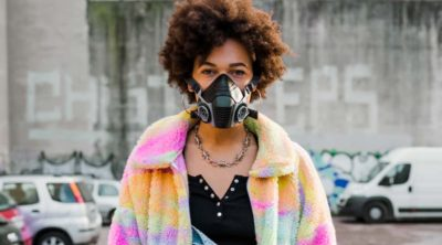 girl with face mask during senior photos