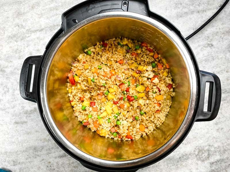 pineapple fried rice inside of the instant pot