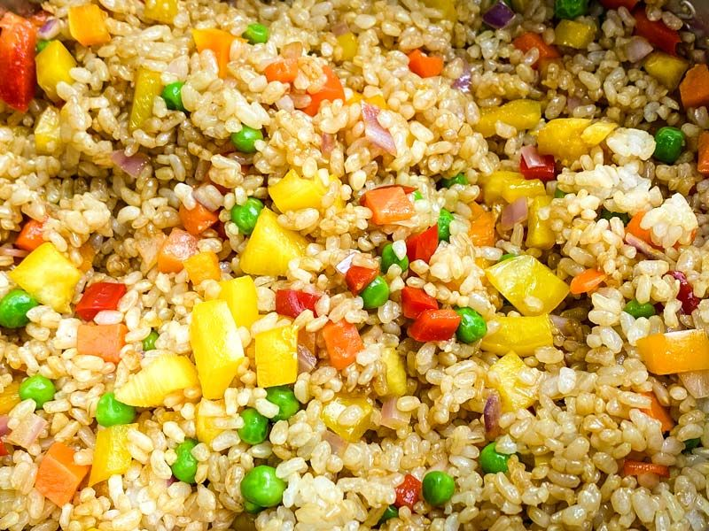 close up of pinespple fried rice