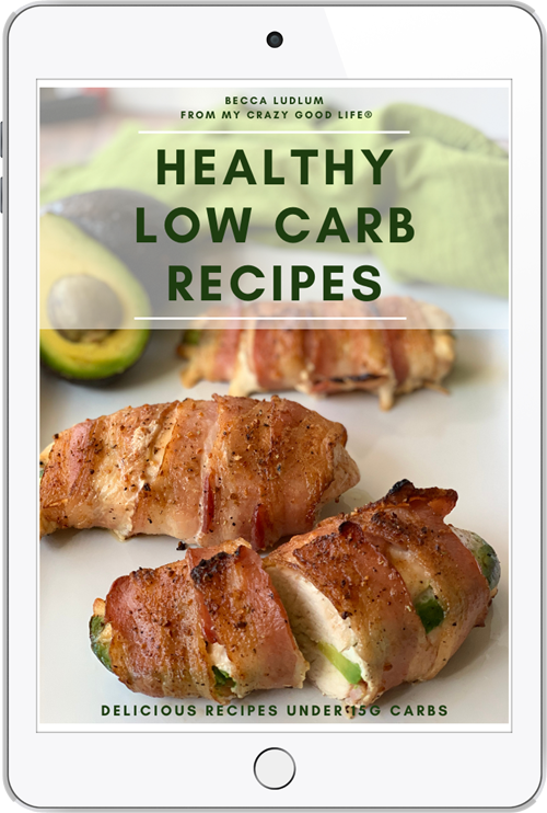ipad cover of low carb book, chicken wrapped in bacon