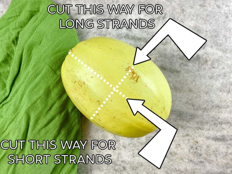 graphic showing how to cut spaghetti squash for long or short pieces