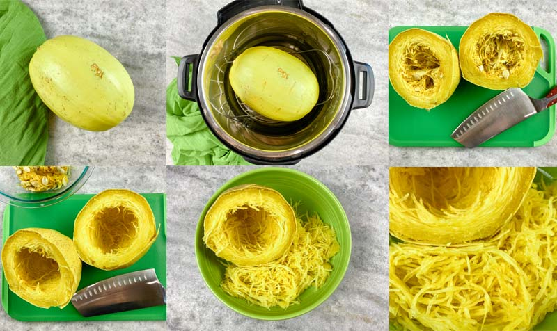 in process collage of spaghetti squash in the instant pot