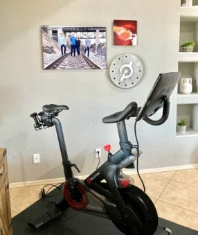 Peloton bike in our living room