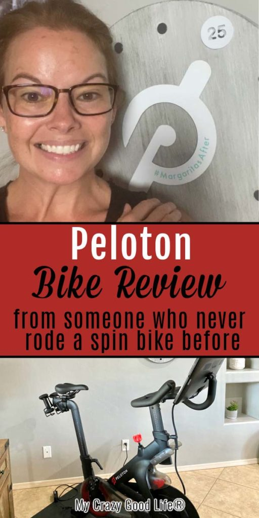 collage image with peloton bike and Becca