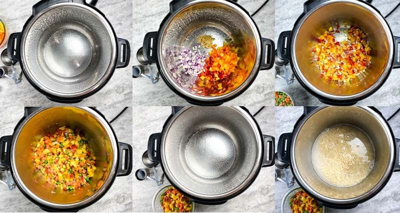collage of the cooking steps to prepare pineapple fried rice in the instant pot