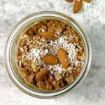 close up of chocolate coconut overnight oats
