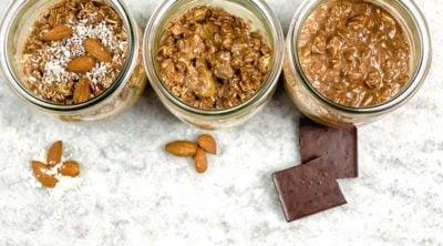 three glass jars of chocolate oats
