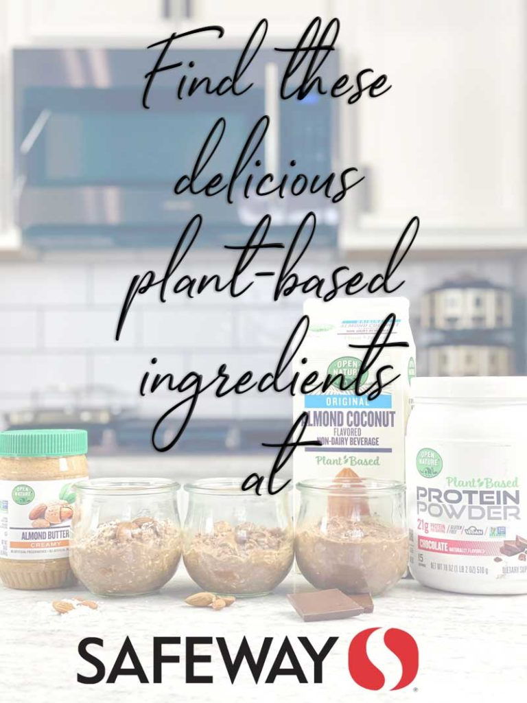 three types of chocolate overnight oats on counter with plant based ingredients