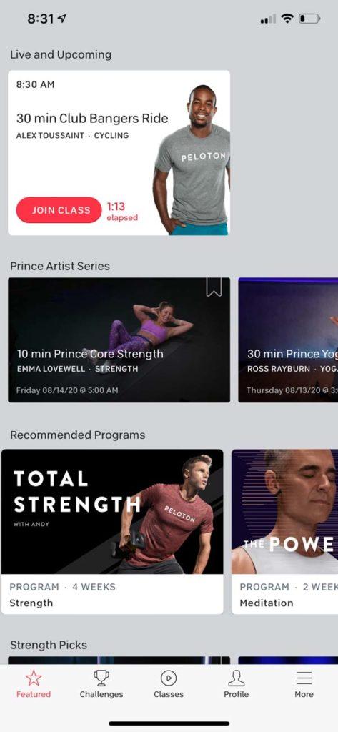screenshot of Peloton app home screen