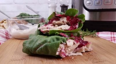 close up of turkey cranberry wraps