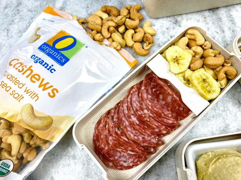 close up of salami and O Organics cashews