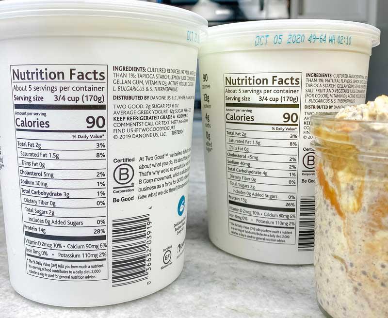 close up of nutrition iformation on Danone Two Good yogurt
