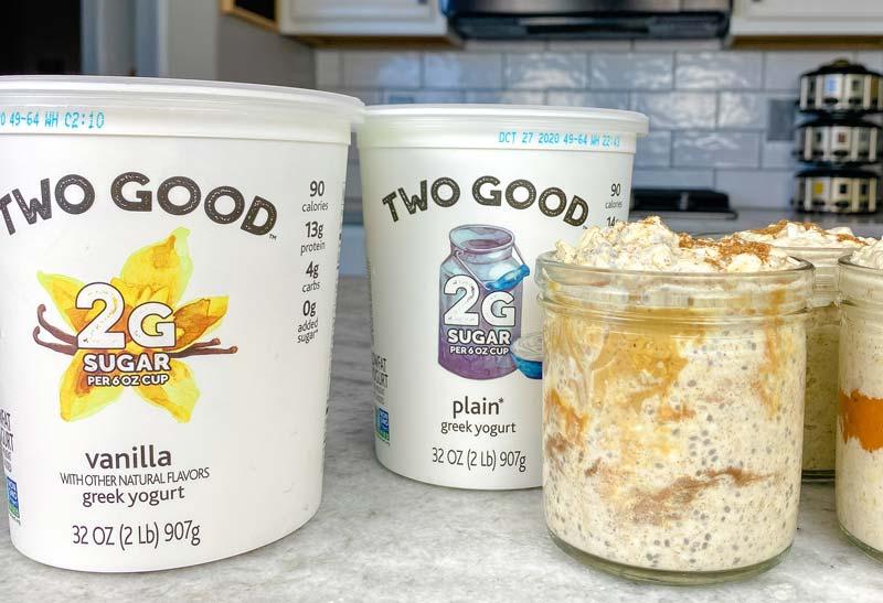 Danone Two Good Greek yogurt with pumpkin overnight oats