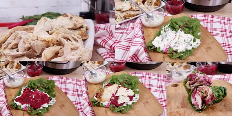 collage of images showing how to make these turkey wraps