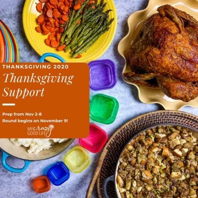 thanksgiving dinner on white counter with 21 day fix containers