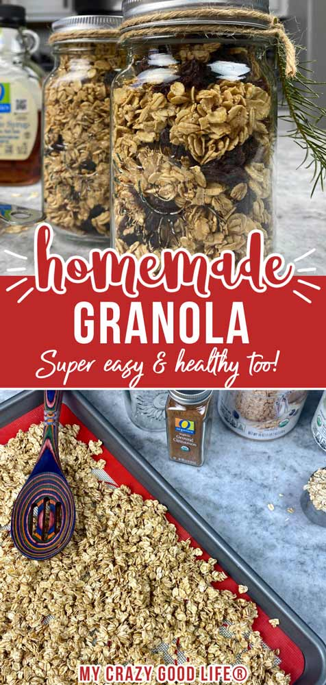 collage with text for pinterest of crunchy granola recipe
