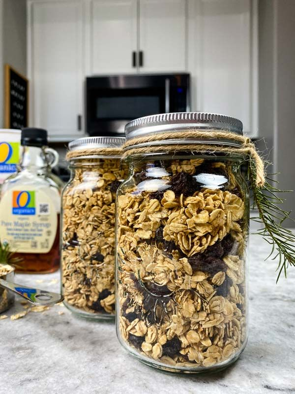 Healthy Homemade Granola in a canning jar.