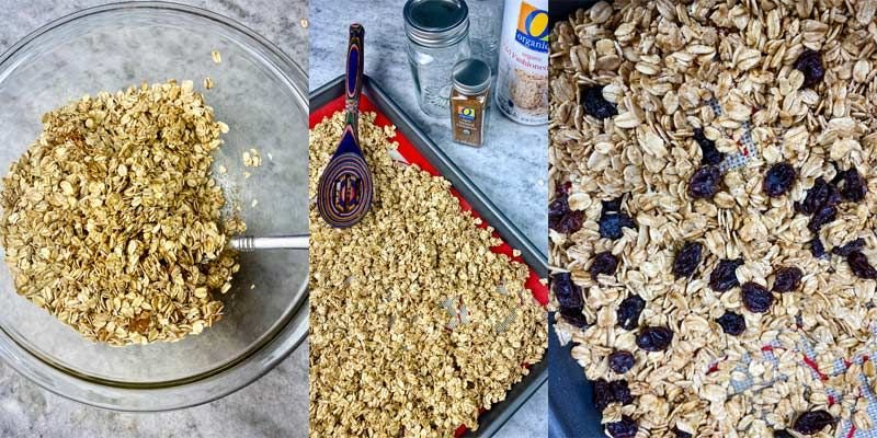 collage photo of how to make easy homemade granola
