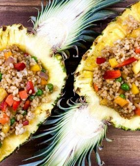 pineapple fried rice inside a pineapple